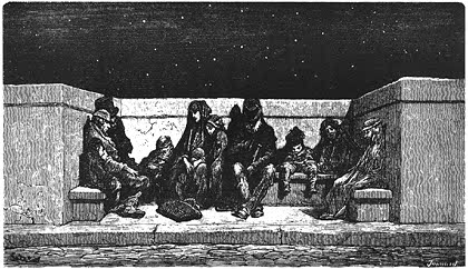 Gustave Doré, Poor People on the London Bridge, 1872